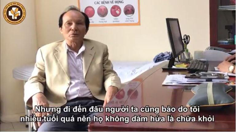 Bệnh nhân Hồ Sĩ Nhiếp chia sẻ về quá trình điều trị xương khớp