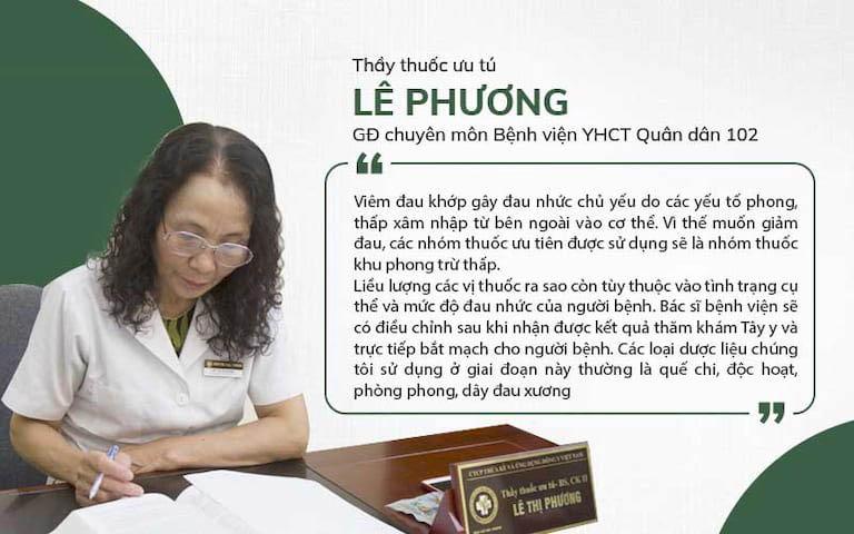 Bác sĩ Lê Phương - Giám đốc chuyên môn, bác sĩ chuyên khoa xương khớp tại Bệnh viện YHCT Xương khớp Quân dân 102