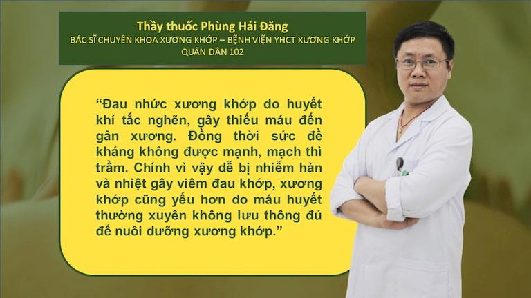 Bác sĩ Phùng Hải Đăng - bác sĩ chuyên khoa Xương khớp bệnh viện YHCT Xương khớp Quân dân 102