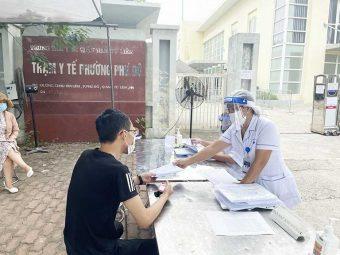 Buổi tiêm phòng vaccine COVID - 19 diễn ra tại Trạm Y tế Phú Đô ngày 09/08/2021